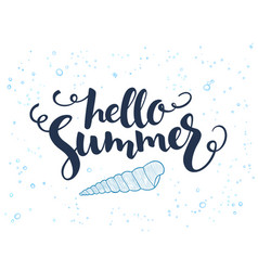 Hand lettering summer text about sea with vector