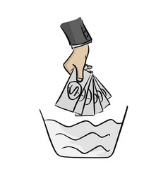 hand of businessman washing money on the bowl vector image