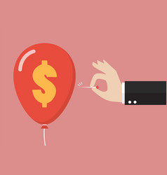 hand pushing needle to pop the dollar sign balloon vector image