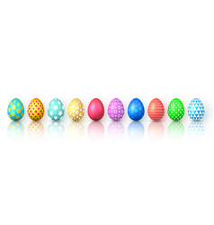 Happy easter color easter eggs on white background vector