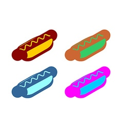Hot dog flat sign Icon fast food Multicolored vector image