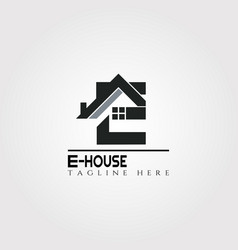 House icon template with e letter home creative vector