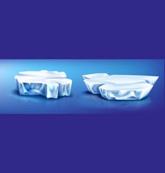 ice floes iceberg pieces glacier on frozen water vector image