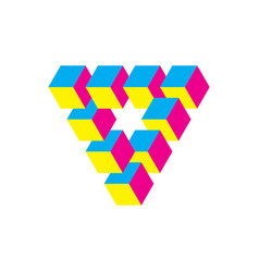 impossible triangle in cmy colors cubes arranged vector image