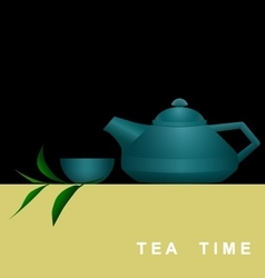 Invitation card with teapot cup and tea branch vector