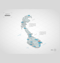 Isometric norway map with city names and vector