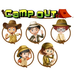 Kids in safari outfit on round badges vector