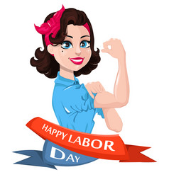 Labor day poster pop art strong woman symbol of vector