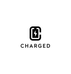 letter c with battery charged logo design concept vector image