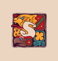 Letter s logo in aztec mayan or incas style vector