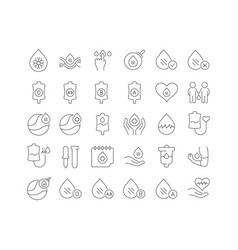 Line icons world blood donor day vector