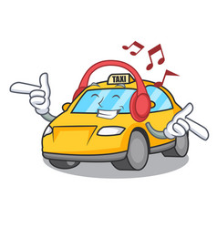 Listening music taxi character mascot style vector