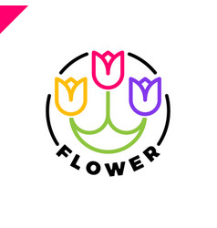 logo of three flowers in the line style in circle vector image