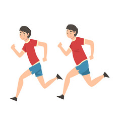 Man in sportswear running guy before and after vector