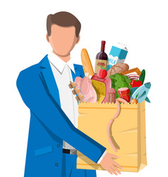 Man with shopping bag full fresh products vector