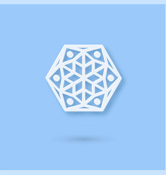 Multilayered paper snowflake icon paper cut snow vector