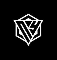 Ny logo monogram with triangle and hexagon shape vector