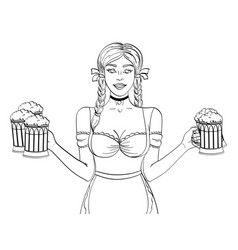 object on white background germany girl waitress vector image