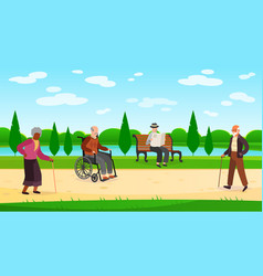 old people walking park outdoors character vector image