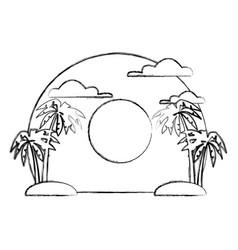 palms on sunset landscape vector image