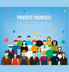 People in protective medical masks protection vector