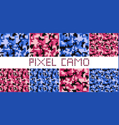 Pixel camo seamless pattern big set vector