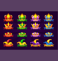 playing cards icons with crown and ribbon poker vector image