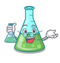 Professor science beaker character cartoon vector