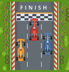 racing cars on finish line top view racing vector image