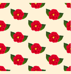 Red camellia flower seamless on beige ivory vector