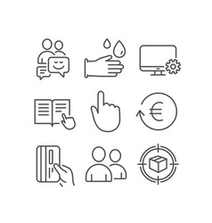 Rubber gloves users and hand click icons vector