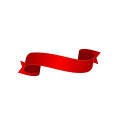 Satin red curved ribbon isolated icon vector