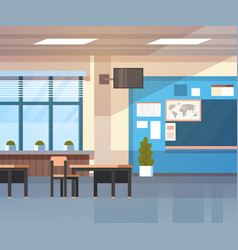 school classroom interior board desk over window vector image