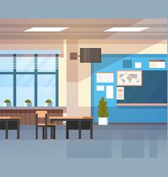 School classroom interior board desk over window vector