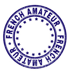 Scratched textured french amateur round stamp seal vector