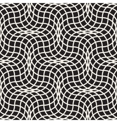 Seamless black and white wavy lines lattice vector