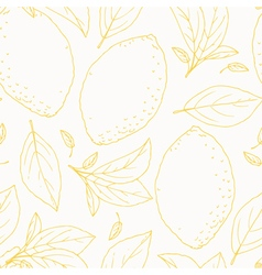 Seamless pattern with outline hand drawn lemon vector image