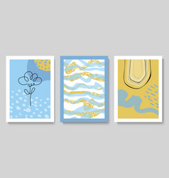 set modern cards with hand drawn details vector image