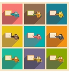 Set of flat icons with long shadow owl teacher vector