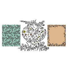 set of hand drawn doodle floral elements vector image