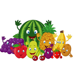 set of various funny cartoon fruits vector image