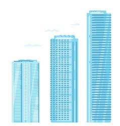 Set three skyscrapers vector
