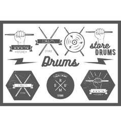 Set vintage style drums labels emblems vector