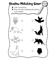 Shadow matching game nocturnal animal coloring vector