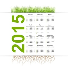 simple calendar 2015 year Grass style vector image