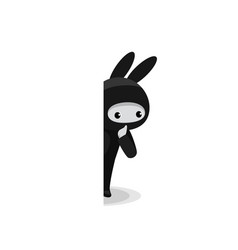 snooping cute bunny ninja isolated on white vector image
