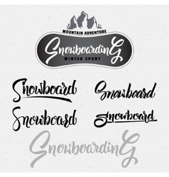 Snowboard badge and label vector image
