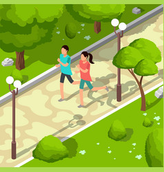 Sport family running in park isometric 3d vector