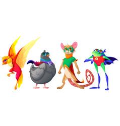 superhero animals cartoon characters cute mascots vector image