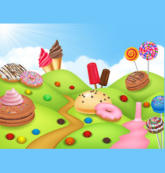 Sweet candyland with cupcake ice cream donut an vector